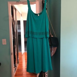 Teal Cotton Flowy Tank Dress